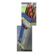 Карандаш графитовый NEON, НВ, трехгранный, с ластиком, ассорти